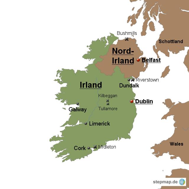 Irland Karte Städte.Stepmap Landkarte Irland Und Nordirland Landkarte Für Irland