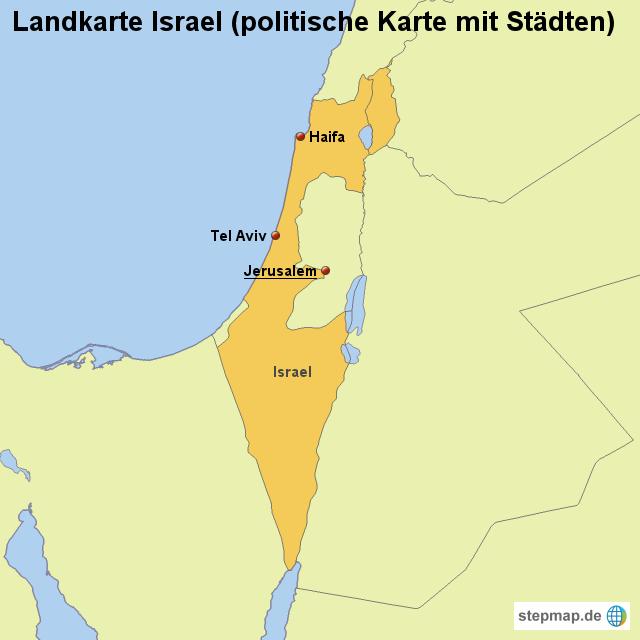 Israel Karte.Stepmap Landkarte Israel Politische Karte Mit Städten
