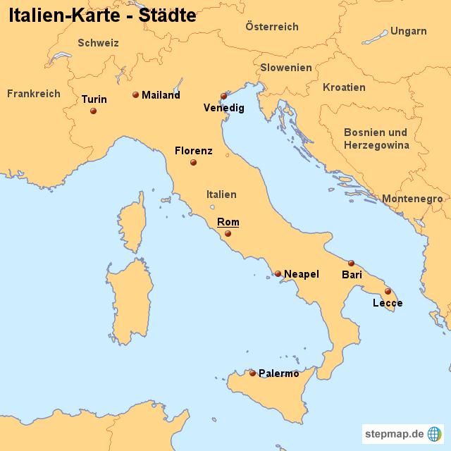 italien karte mit städten StepMap   Landkarte Italien (Karte mit Städten)   Landkarte für