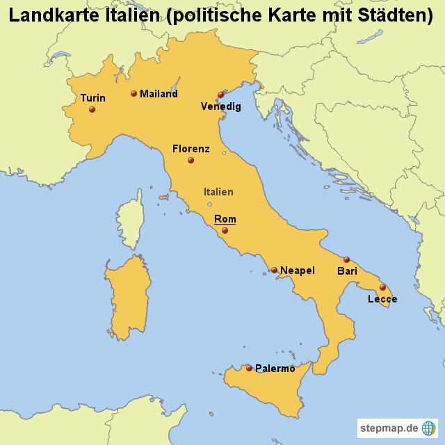 italien karte mit städten StepMap   Landkarte Italien (politische Karte mit Städten
