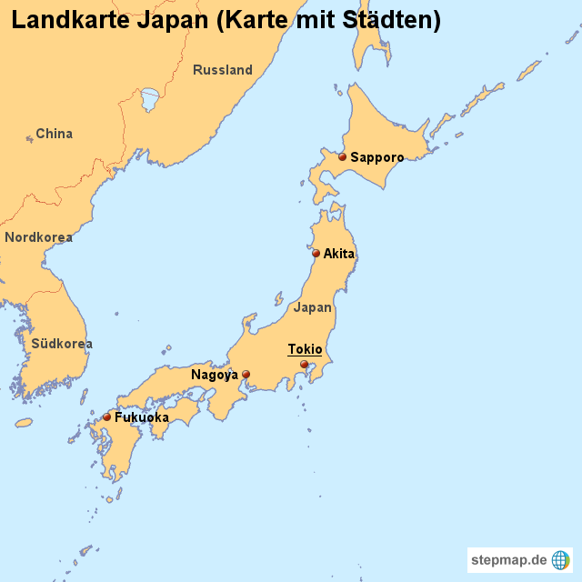 Japan Karte.Stepmap Landkarte Japan Karte Mit Städten Landkarte Für Japan