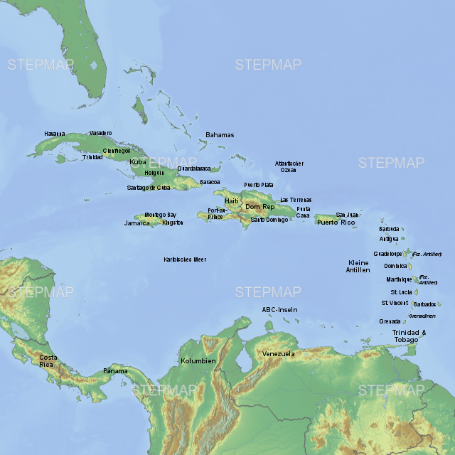 Karibik Karte.Stepmap Landkarte Karibik Landkarte Für Südamerika