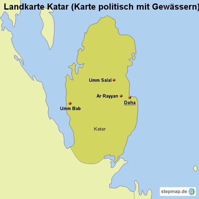katar landkarte StepMap   Landkarte Katar (Karte politisch mit Gewässern  katar landkarte