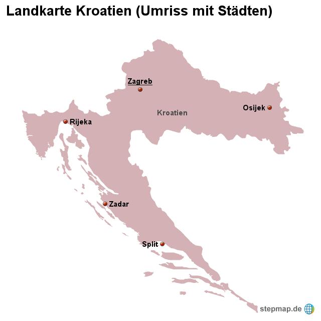 stepmap landkarte kroatien umriss mit st dten. Black Bedroom Furniture Sets. Home Design Ideas