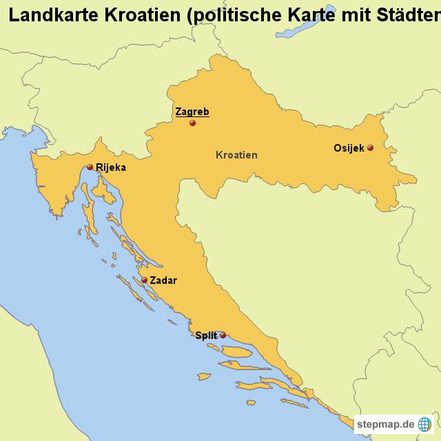 stepmap landkarte kroatien politische karte mit st dten. Black Bedroom Furniture Sets. Home Design Ideas