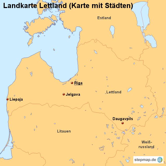 stepmap landkarte lettland karte mit st dten. Black Bedroom Furniture Sets. Home Design Ideas