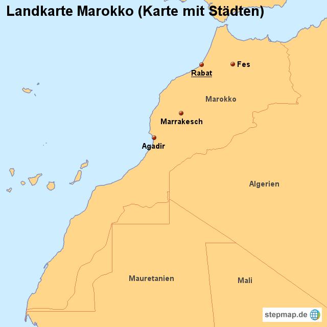 stepmap landkarte marokko karte mit st dten. Black Bedroom Furniture Sets. Home Design Ideas