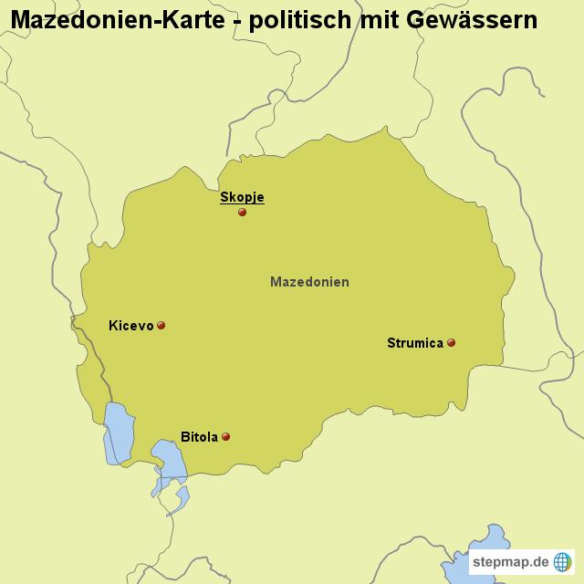 Stepmap Landkarte Mazedonien Karte Politisch Mit Gewassern