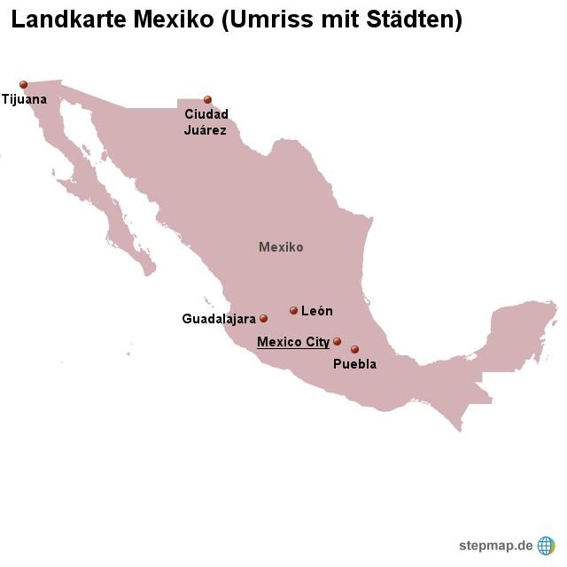 Mexiko Karte Umriss.Stepmap Landkarte Mexiko Umriss Mit Stadten Landkarte