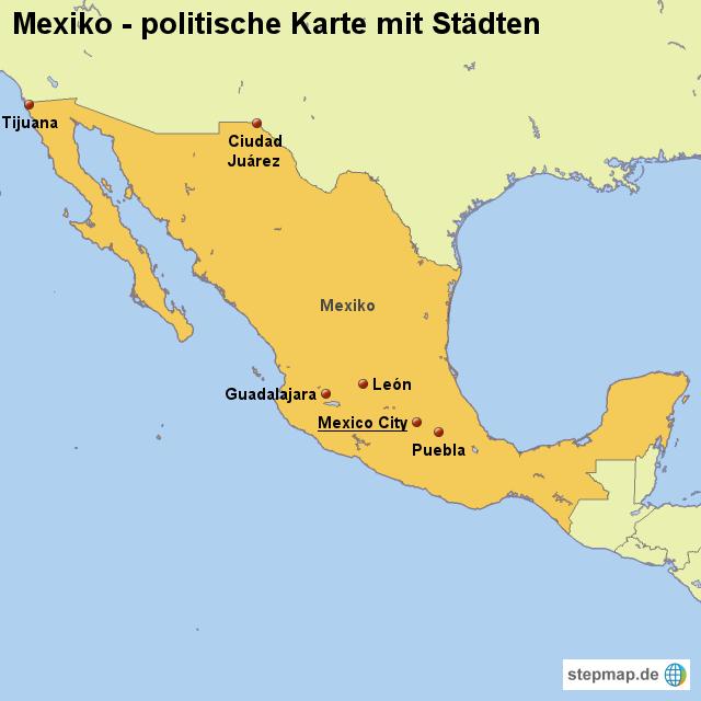 Mexiko Karte Umriss.Stepmap Landkarte Mexiko Politische Karte Mit Stadten