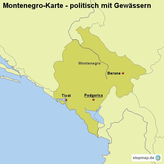 montenegro landkarte StepMap   Landkarte Montenegro (Karte politisch mit Gewässern  montenegro landkarte