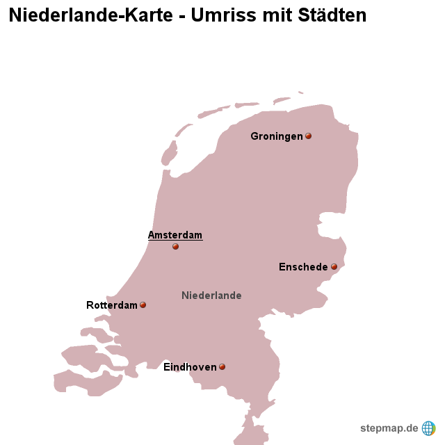 Stepmap Landkarte Niederlande Umriss Mit Stadten Landkarte Fur Niederlande