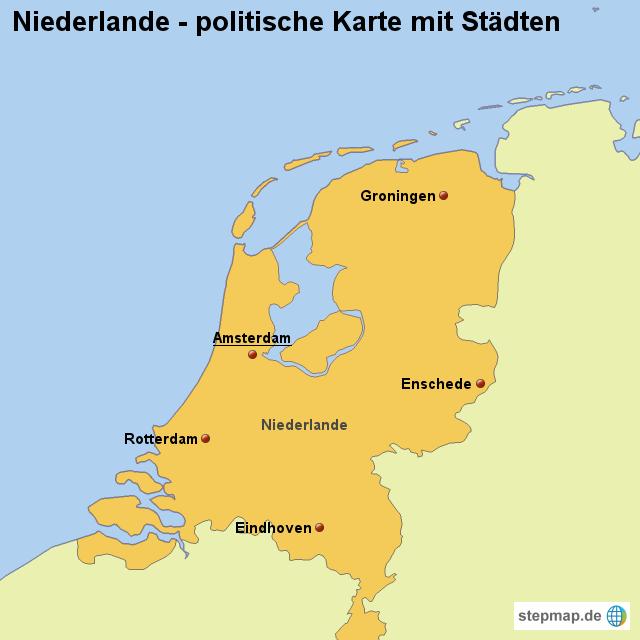stepmap landkarte niederlande politische karte mit. Black Bedroom Furniture Sets. Home Design Ideas