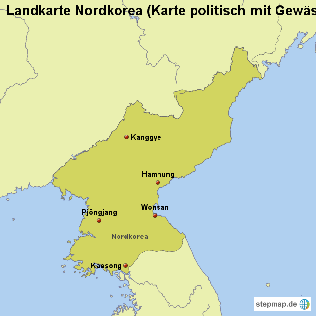 nordkorea landkarte StepMap   Landkarte Nordkorea (Karte politisch mit Gewässern  nordkorea landkarte