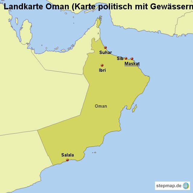 Karte Oman.Stepmap Landkarte Oman Karte Politisch Mit Gewässern Landkarte