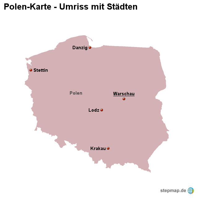 Polen Karte Umriss.Stepmap Landkarte Polen Umriss Mit Stadten Landkarte