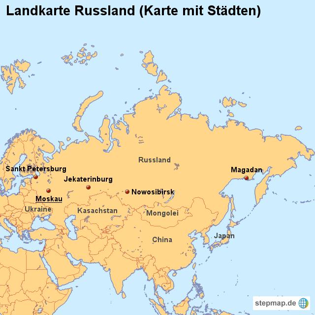 russland städte karte StepMap   Landkarte Russland (Karte mit Städten)   Landkarte für  russland städte karte