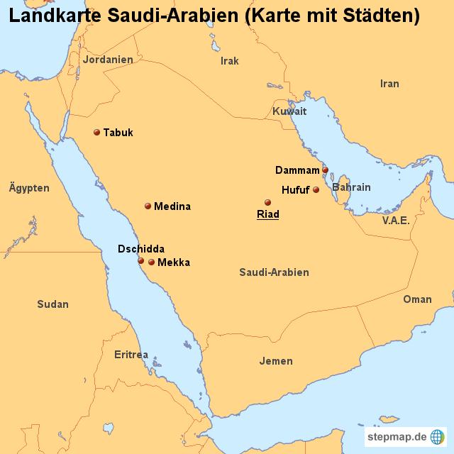 karte saudi arabien StepMap   Landkarte Saudi Arabien (Karte mit Städten)   Landkarte  karte saudi arabien