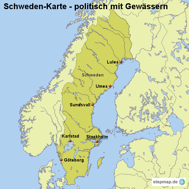 karte von schweden StepMap   Landkarte Schweden (Karte politisch mit Gewässern  karte von schweden
