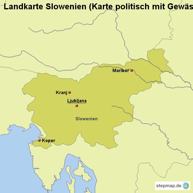 karte slowenien StepMap   Landkarte Slowenien (Karte politisch mit Gewässern