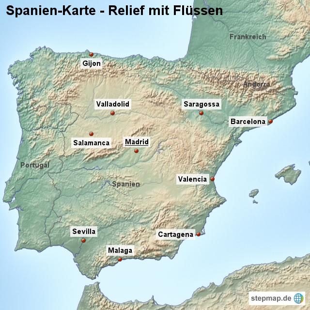 Salamanca Spanien Karte.Stepmap Landkarte Spanien Karte Mit Relief Und Flüssen