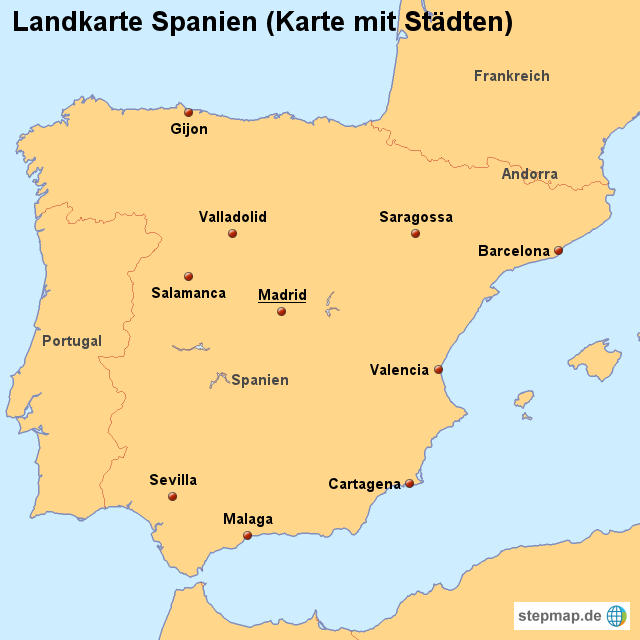 Stepmap Landkarte Spanien Karte Mit Stadten Landkarte Fur