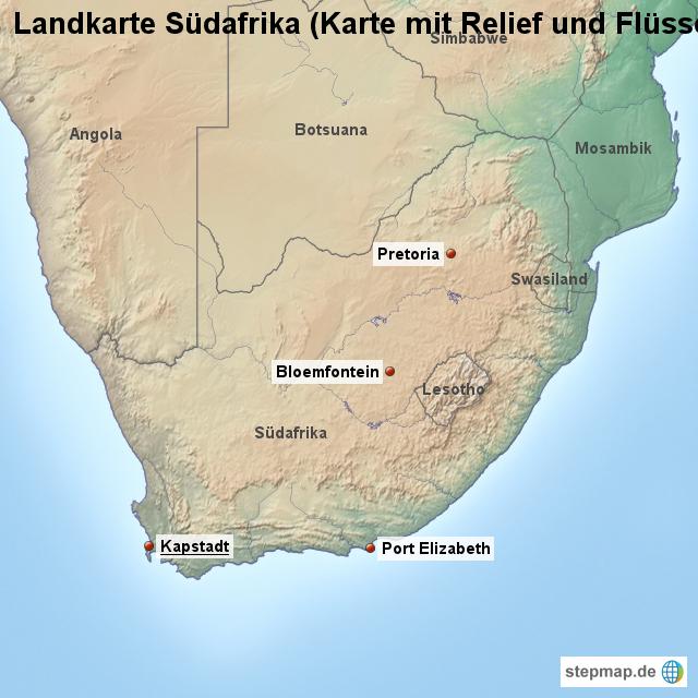 Südafrika Karte.Stepmap Landkarte Südafrika Karte Mit Relief Und Flüssen