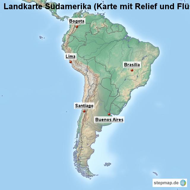 Stepmap Landkarte Sudamerika Karte Mit Relief Und Flussen