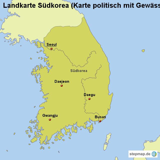 Südkorea Karte.Stepmap Landkarte Südkorea Karte Politisch Mit Gewässern