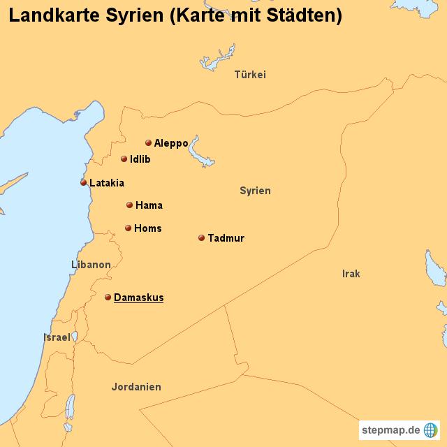 Syrien Karte Mit Städten.Stepmap Landkarte Syrien Karte Mit Städten Landkarte Für Syrien