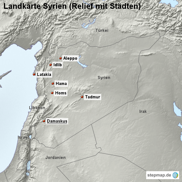 Syrien Karte Mit Städten.Stepmap Landkarte Syrien Relief Mit Städten Landkarte Für Syrien