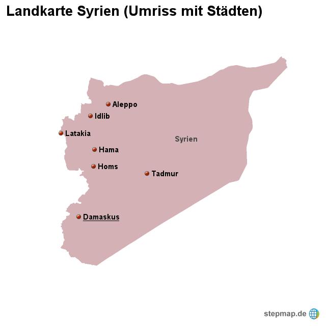Syrien Karte Mit Städten.Stepmap Landkarte Syrien Umriss Mit Städten Landkarte Für Syrien