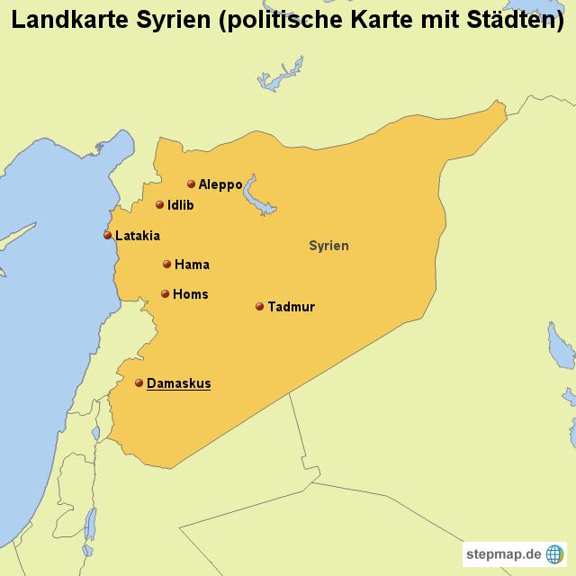 Karte Syrien.Stepmap Landkarte Syrien Politische Karte Mit Städten