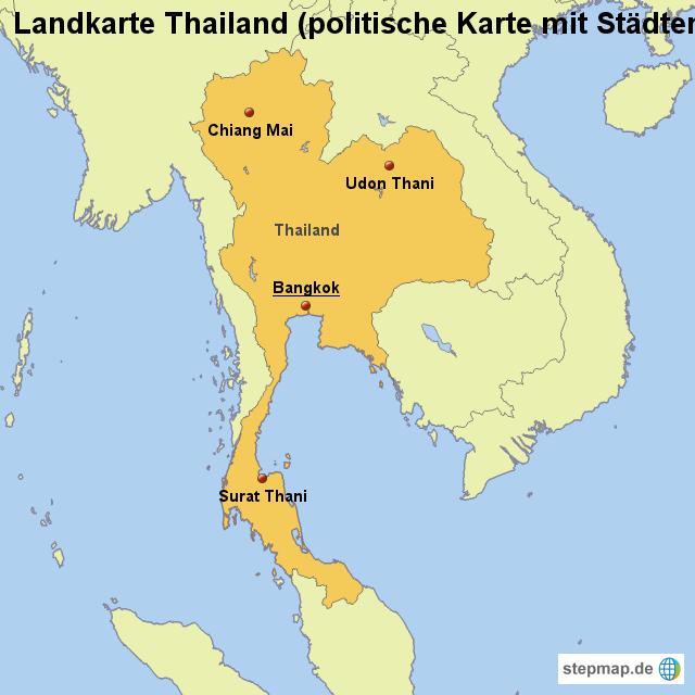 Thailand Karte Welt.Stepmap Landkarte Thailand Politische Karte Mit Städten