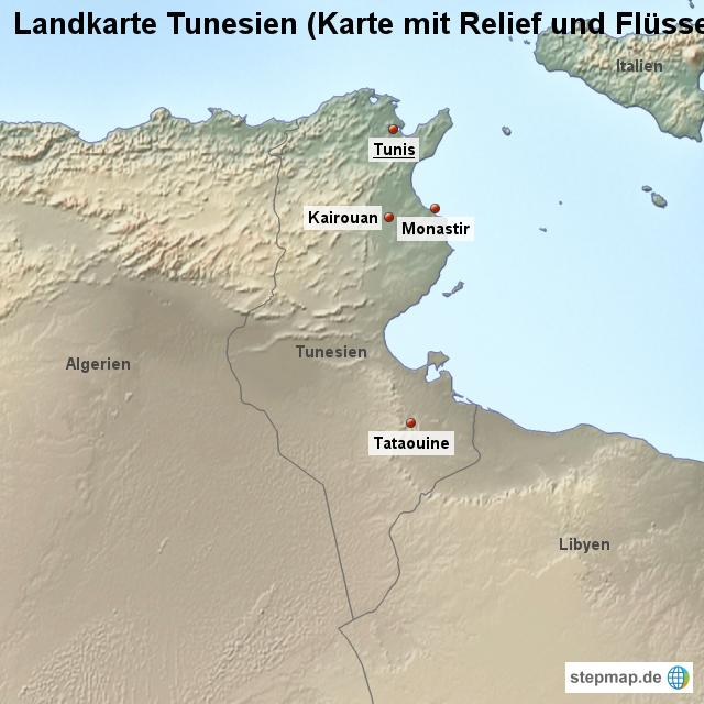 Tunesien Karte.Stepmap Landkarte Tunesien Karte Mit Relief Und Flussen