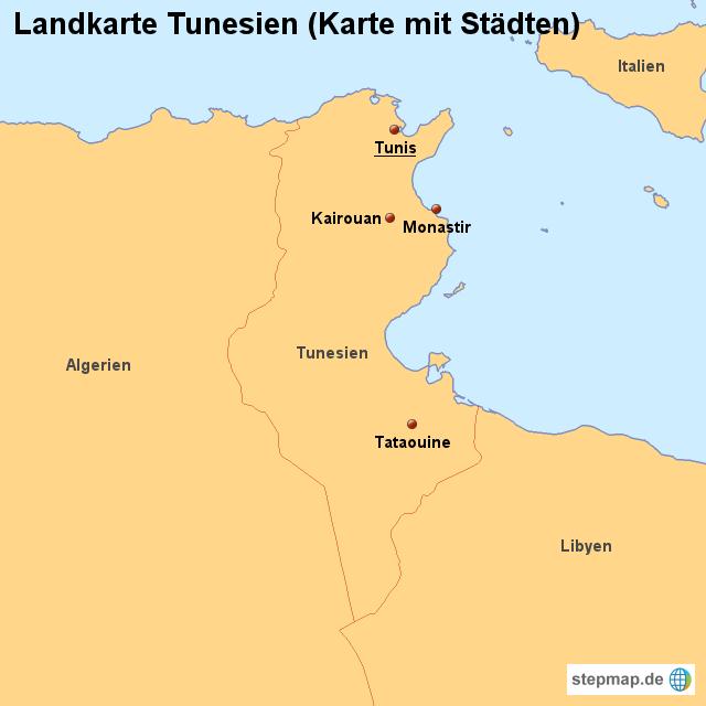 Tunesien Karte.Stepmap Landkarte Tunesien Karte Mit Stadten Landkarte