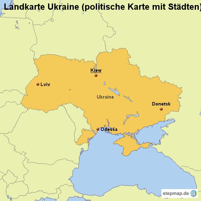 stepmap landkarte ukraine politische karte mit st dten. Black Bedroom Furniture Sets. Home Design Ideas