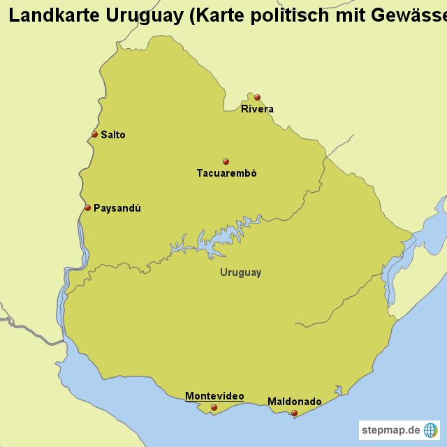 uruguay landkarte StepMap   Landkarte Uruguay (Karte politisch mit Gewässern  uruguay landkarte