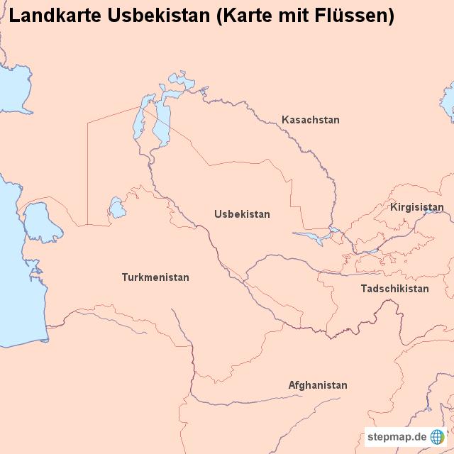 Usbekistan Karte.Stepmap Landkarte Usbekistan Karte Mit Flüssen Landkarte Für