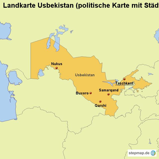 Usbekistan Karte.Stepmap Landkarte Usbekistan Politische Karte Mit Städten