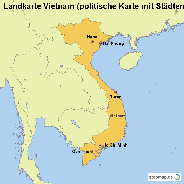 landkarte vietnam StepMap   Landkarte Vietnam (politische Karte mit Städten  landkarte vietnam