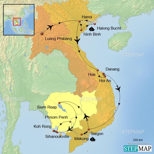 Kambodscha Karte.Stepmap Laos Vietnam Kambodscha Karte Herbst Wesel