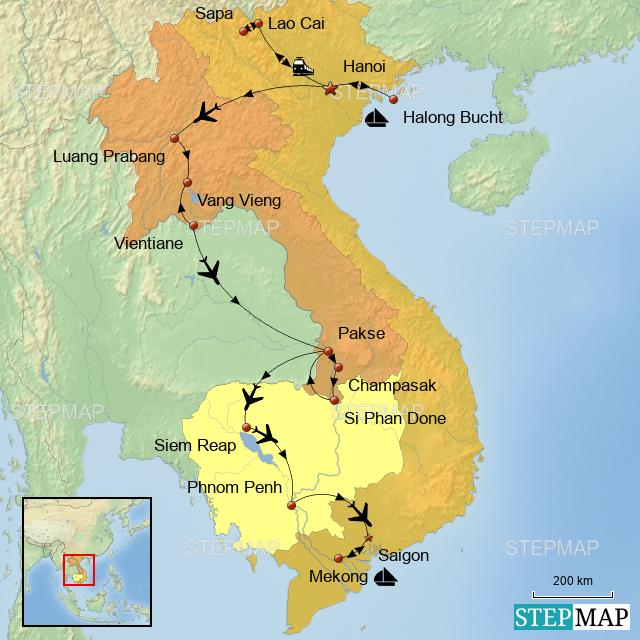 Kambodscha Karte.Stepmap Laos Vietnam Kambodscha Karte Meisen Landkarte