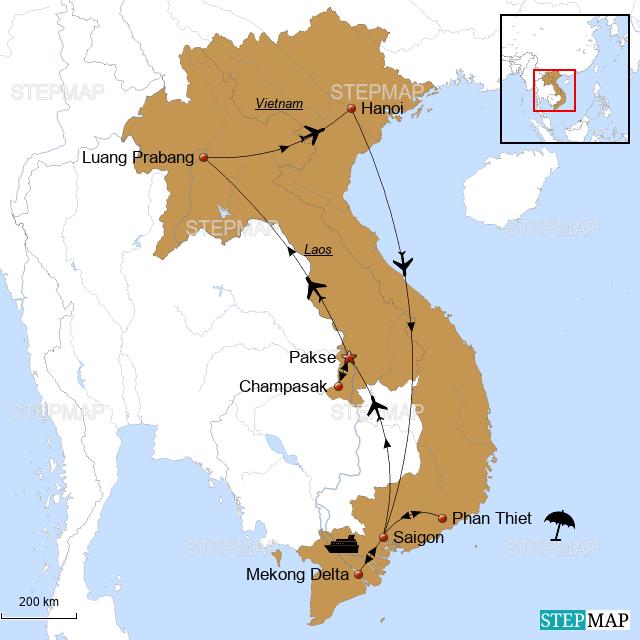 Laos Karte.Stepmap Laos Vietnam Karte Erdmann Landkarte Für Thailand