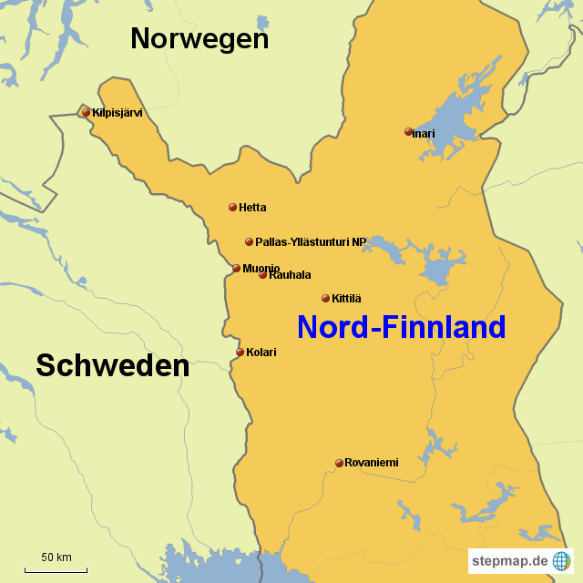 Lappland Karte.Stepmap Lappland Landkarte Für Finnland