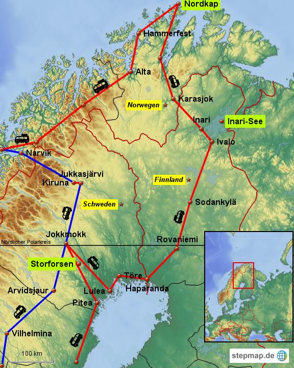 Lappland Karte.Stepmap Lappland Landkarte Für Norwegen