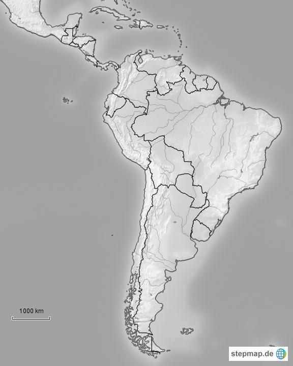 Stumme Karte Lateinamerika.Stepmap Lateinamerika Landkarte Fur Sudamerika