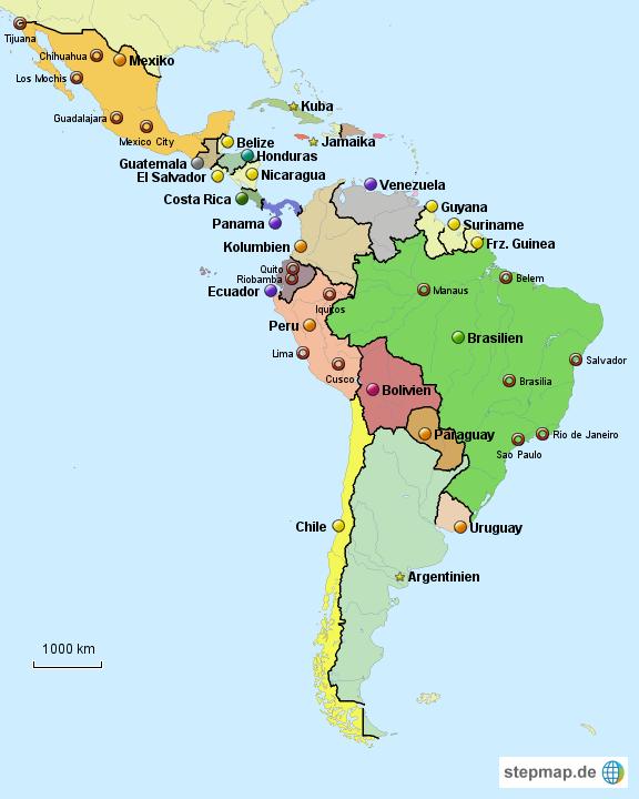 karte lateinamerika StepMap   Lateinamerika   Landkarte für Südamerika
