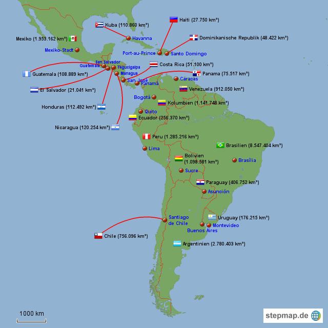 Südamerika Karte Länder.Stepmap Lateinamerika Staaten Mit Hauptstädten Und Fläche