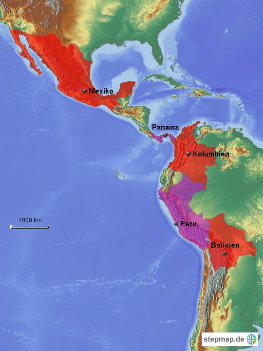 Lateinamerika Karte Länder.Stepmap Lateinamerika Besuchte Länder Landkarte Für Südamerika